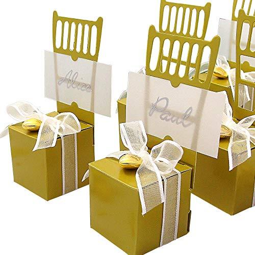 EinsSein 12x Kartonagen Gastgeschenke Hochzeit Tischkartenhalter Stuhl gold mit Namenskärtchen Hochzeitsmandeln Kartonage Geschenkboxen Geschenkbox Taufe Taufmandeln goldene Tischkarten Candybar