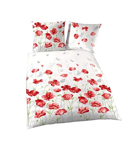 Träumschön Blumen Bettwäsche 200x200 3teilig | Mohnblumen Design | 100% Baumwoll Bettwäsche | Bettbezug 200x200 & 2 Kissenbezüge 80x80 | Tolle Sommer Partnerbettwäsche