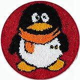 Latch Hook Kits De Impresión De Dibujos Animados con Herramienta Básica e Instrucciones para Hacer Pingüino Lindo Alfombras,Penguin,52x42cm/20x16inch