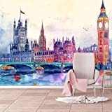 Photo Wall Mural 3D Wallpaper City Of London Self-Adhesive Mural Photo Mural Wall Art Decoration Modern Design for Living Room Bedrooms TV Background -350x256 Cm (WxH)
