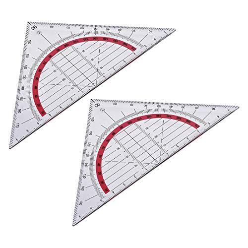 Juego cuadrado de regla triangular 90 mm 45 grados Papelería de plástico Geometría matemática 2 piezas