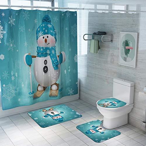Wishwin 4PCS Weihnachten Badezimmer Dekorationen Set Toilettensitzbezug Teppich Duschvorhang Sets Weihnachten Weihnachtsmann Schneemann Badezimmer Dekor