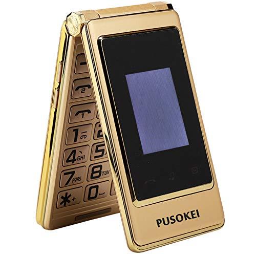 Botón grande para personas mayores 2G, teléfono celular con doble SIM, pantalla táctil con tapa, teléfono base fácil de usar para personas mayores, pantalla de 3.1 ''/almacenamiento de 32G(Oro)