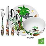 WMF Disney El Libro de la Selva - Vajilla para niños 6 piezas, incluye plato, cuenco y cubertería (tenedor, cuchillo de mesa, cuchara y cuchara pequeña) (WMF Kids infantil)