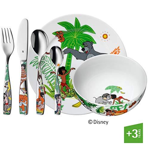 WMF Disney Dschungelbuch Kinder Geschirrset 6-teilig, Kindergeschirr mit Kinderbesteck Edelstahl, ab 3 Jahre, Cromargan poliert, spülmaschinengeeignet