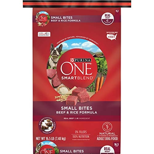 Purina ONE Natural Dry Dog Food, SmartBlend Small Bites Beef & Rice Formula - 16.5 lb. Bag