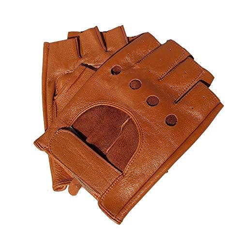 Baeoy Hohe Qualität des Mannes halbe Fingerhandschuhe Breathable Non-Slip Fitness Leder Fingerlose Handschuhe Schwarz Camel Driving Handschuhe der Männer im Freien Art und Weise beiläufige Handschuhe