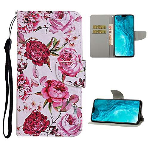 Nadoli Brieftasche Etui für Huawei P40,Rosa Pfingstrose Blumen Muster Bunt Pu Leder Lanyard Standfunktion Magnetisch Handyhülle Schutzhülle Lederhülle mit Kartenfach