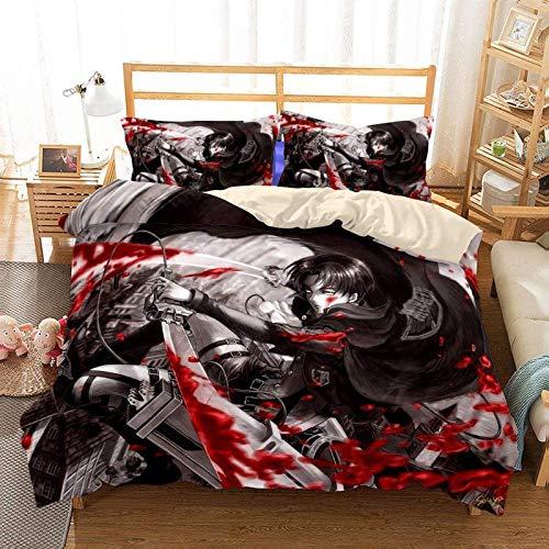 Amacigana Attack on Titan Juego de ropa de cama de microfibra suave funda nórdica + funda de almohada con cremallera, decoración de dormitorio juvenil (9,135 x 200 cm + 2 x 50 x 75 cm)