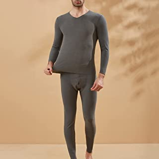 2021 Men's Thermal Underwear Set, Ultra Soft Comfortable Elastic Spring And Autumn Round Neck Double-Sided Velvet Long Joh...