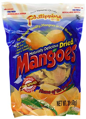Phillippine Brand Naturally Delicious Dried Mangoes Tree Ripened Value Bag 30 Ounces - PACK OF 4