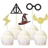 Unimall Global 30 adornos de purpurina para cupcakes inspirados en Harry P, decoración para tartas...