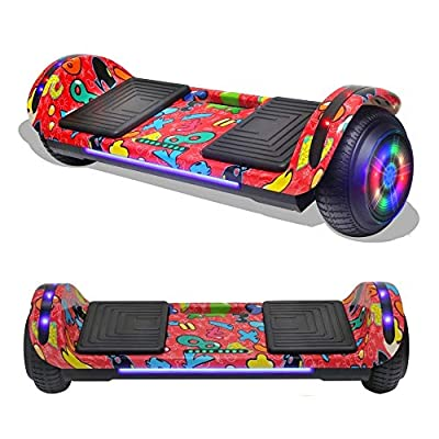 TPS Flatboard Hoverboard Self Balancing Scooter with Speaker LED Lights Flashing Wheels - UL Certified (Graffiti Red)