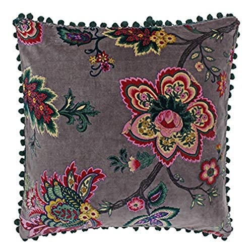 Riva Paoletti Palampur Cushion Cover - Mink Purple - Indian Floral Print - Faux Velvet Fabric - Pink Pompom Edges - Machine Washable - 100% Cotton - 50 x 50cm (20' x 20' inches)