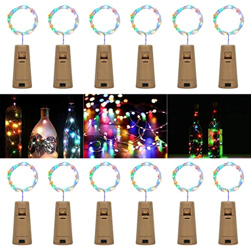 【12 Stück】SanGlory 20 LEDs 2M Flaschen-Licht Bunt,Flaschenlicht Weinflasche Lichterkette Kork Flaschen Lichter LED Lichterketten für Flasche, Batteriebetriebene für Flasche DIY, Dekor, Weihnachten