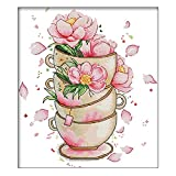 Flor en la taza de café DIY hecho a mano costura contado 14CT impreso punto de cruz diy kit de ukelele hecho a mano