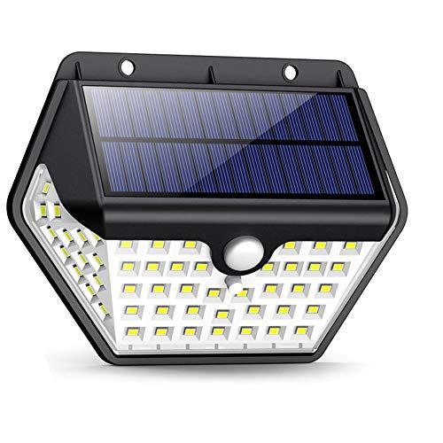 55 LED Solar Wandleuchte Garten Sicherheit Strahler Wasserdicht Fernbedienung
