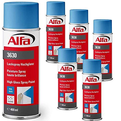 Sprühlack RAL 5015 Himmelblau 6 x 400 ml Hochglanz für innen und außen - Lackieren und Dekorieren, hohe Deckkraft Farbspray, Sprühdose,