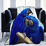 Kglkb manta de franela para sofa,edredón de franela de 150 × 130 cm manta de guacamayos jacinto ligero ultra suave micro polar ajuste sofá cama sala de estar sofá silla