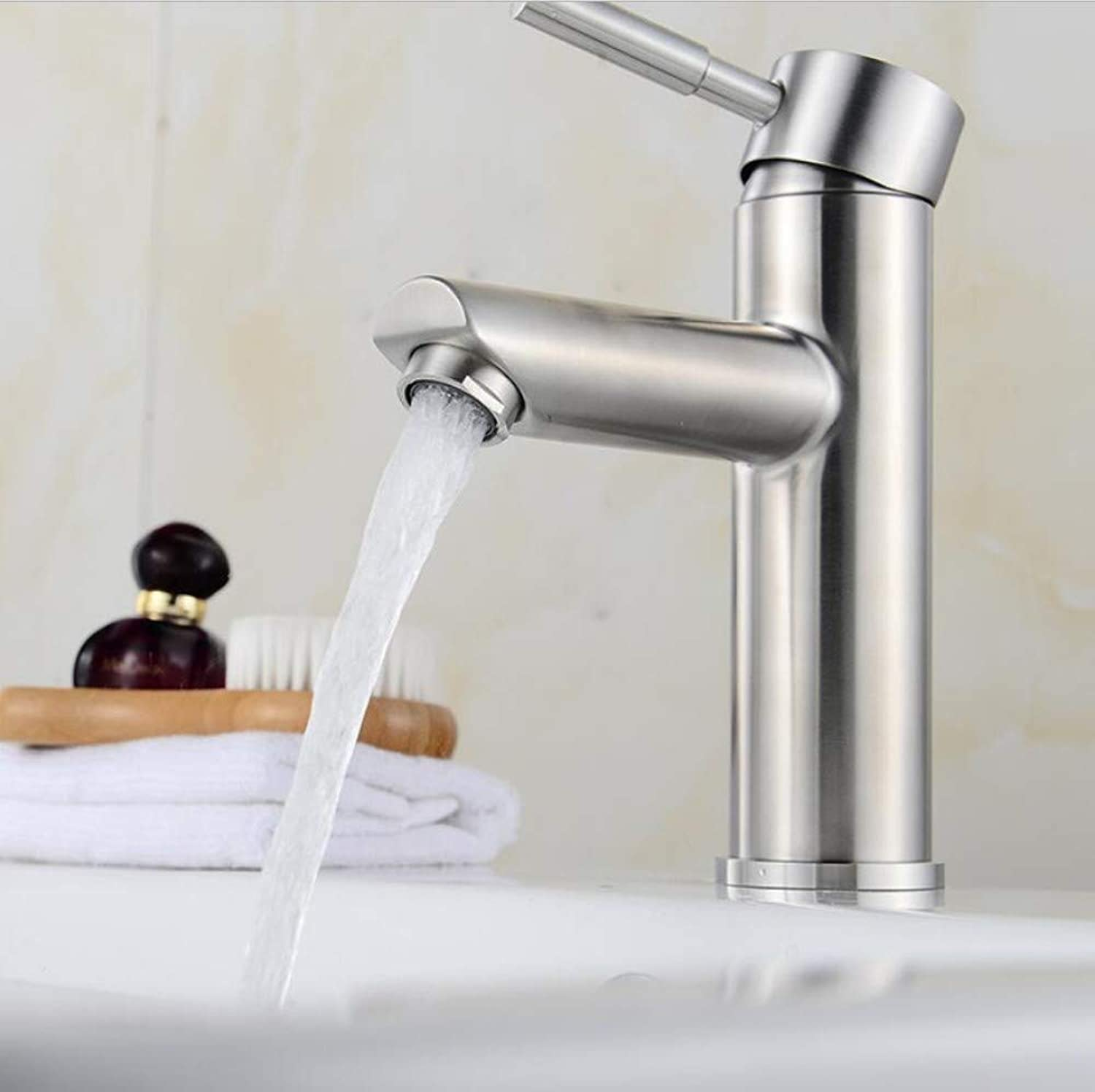 Bathroom Sink Basin Lever Mixer Tap Sus 304 Stainless Steel Single Hole Cold and Hot Water Faucet for Heavy Thickened Face Pot