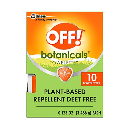 OFF! Botanicals Mosquito and Insect Repellent Wipes, Plant-Based*, Deet-Free**, Easy to Apply, 10 Individually Wrapped Wipes