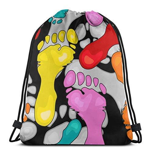XCNGG Bolsa con cordón Bolsa con cordón Bolsa portátil Bolsa de gimnasio Bolsa de compras Bundle Backpack Outdoor Shopping Knapsack Colorful Footprints Vector Image Rope-Pulling Bag Sports Bag Suitabl