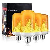 Flammen Lampe, Flamme Glühbirne, Flammeneffekt Glühlampe Feuer & Schwerkrafsensor 4 Modi Dekorative Atmosphäre für Party Outdoor Weihnachten (4W E27 Base) (4PCS)