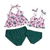 Yuanu Madre Hija Trajes De Baño Pareo Familia Mami Niñas Dos Piezas Bikini Set Traje De Baño De Verano Floral Impreso Poliéster Cintura Alta Ropa De Playa Rosa Niño:5-6 Años