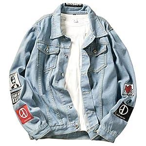 [ヤンーチ] デニム ジャケット Gジャン メンズプリント ジージャン ブルゾン ストレッチ 長袖 カジュアル 大きいサイズ M-5XL かっこいい ブルーL