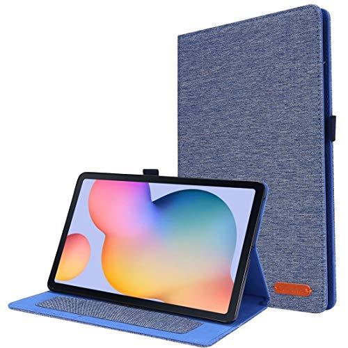 Fundas Galaxy For el Caso Protector del tirón de Samsung Galaxy Tab S6 Lite Horizontal TPU Tela de la PU de Cuero con Clip de la Tarjeta conocida Fundas Galaxy (Color : Dark Blue)