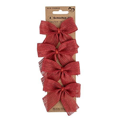 Ideen mit Herz Geschenk-Schleifen aus Jute | selbstklebend | Ideal zum Schmücken und Verzieren von Geschenken zu Weihnachten, Geburtstag, Hochzeit (8,2 x 7,2 cm | rot | 4 Stück)