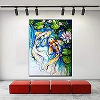 ウォールアートキャンバスプリント鯉魚の友達の絵画リビングルームの装飾写真池ロータスポスターモダンアートワーク60x90cmフレームレス