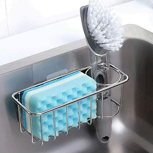 Adhesive Sponge Holder Brush Holder, 2-in-1 Sink Caddy, SUS304 Detachable Stainless Steel Rustproof Waterproof for Sponges/Scrubbers/Dish Brushes, No Drilling (1-Pack)