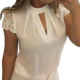 Dubocu Women's Casual Chiffon Short Sleeve Splice Lace Crop Top Blouse
