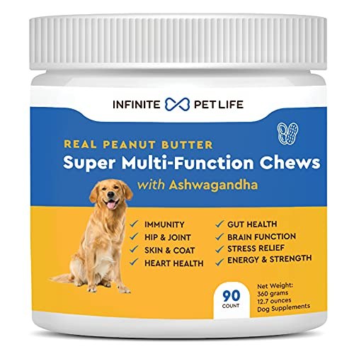 Infinite Pet Life Multi - Function Chews Multivitamins for Dogs   90 Count - 8 in 1   Skin & Coat  Allergy  Immunity  Joint Support   with Ashwagandha Supplement for Dogs