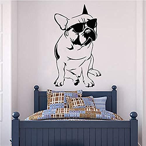 Woonkamer Muurstickers Knappe Franse Bulldog met Zonnebril Muursticker Jongen Slaapkamer Decoratie Vinyl Dieren Muursticker 59X105Cm