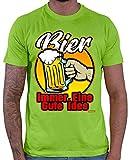 Hariz - Camiseta para hombre, diseño con texto en alemán 'Bier immer eine Gute Idee' verde claro S