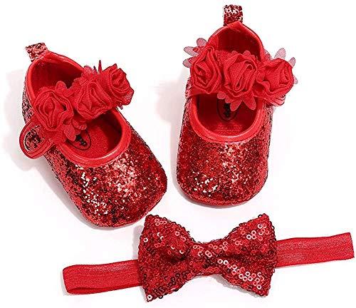 Carolilly Baby Mädchen Schuhe mit Stirnband Taufe Zeremonie Schuhe Anti-Rutsch Weiche Sohle Geschenk für Baby Mädchen Gr. 6-12 Monate, Rot a
