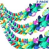 Banderole Tropicale en Papier Lot de 3 - Guirlande de Fleurs Hawaïennes, 2,7m de Long Thème Luau Bannières de Lei pour Noël ,la Décoration des Fêtes d'Anniversaire, Festivals, Mariages, Événements