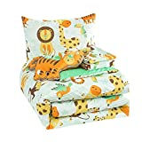 WPM Kids Collection Bedding 4 Piece White Green Safari Forest Jungle Print Twin Size Comforter Set with Sheet Pillow sham and Furry Toy Fun Tiger Monkey Theme Design (Safari Life, Twin Comforter)