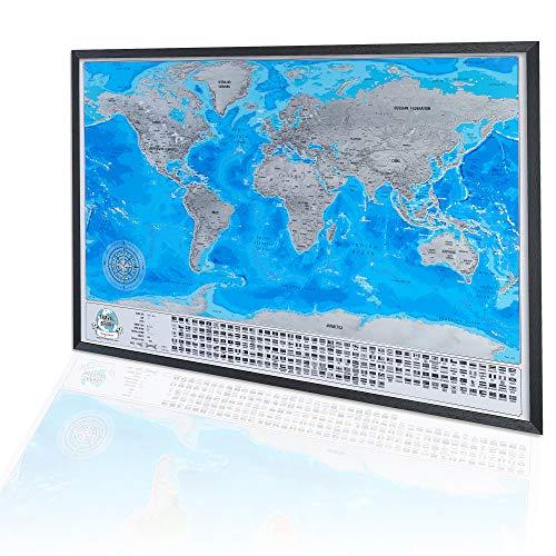 Mappa del Mondo da Grattare con Cornice 86x60cm, Regalo Originale per la Famiglia, Grande Mappa da Viaggio da Grattare, Avventure Personali, Mappa Personalizzata, Cornice nera