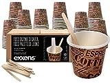 1000 Pz Bicchieri Caffe di Carta Biodegradabili Biocompostabili Tazzine 75ml + 1000 Pz Palettine Legno Betulla (avana beige)