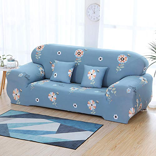 Funda Sofa 1 Plaza Flores Fundas Sofa Elasticas,Funda de Sofa Chaise Longue,Moderna Cubre Sofa,La Funda para Sofa Jacquard de Poliéster (90-140cm)