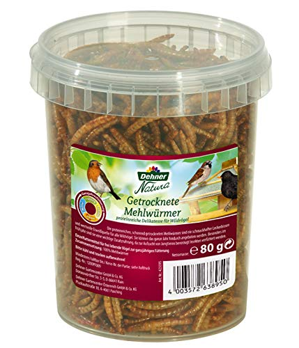 Dehner Vogel-, Nager-, und Fischfuttersnack, getrocknete Mehlwürmer, 80 g