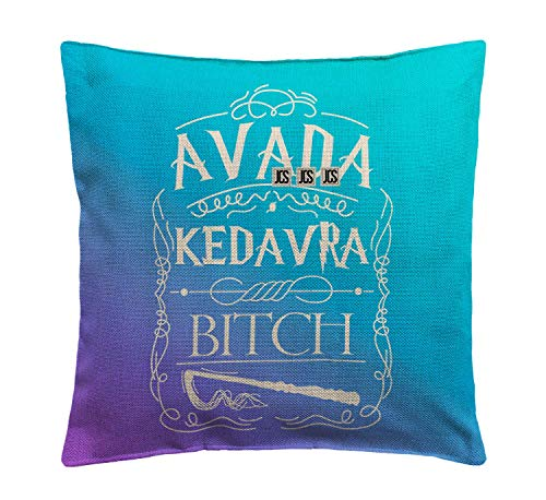 Avada Kedavra Bitch Harry Character Potter Funny Funny Pillow, Throw Pillow for Home Office Decor, Cover Linen Lined Pillow Case, Cute Decorative Couch Pillow, House Warming Presents (Cover Only)
