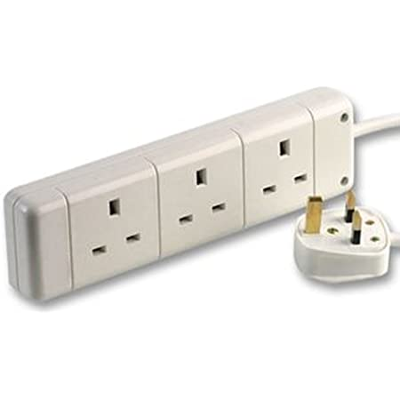 White 6 Way Gang Socket Power Mains Extension Lead 5 Metre Cable 13A Amps