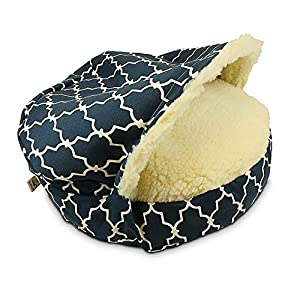 Snoozer Pet Products – Luxury Cozy Cave Dog Bed – Wag Collection | Small – Garden Gate Navy