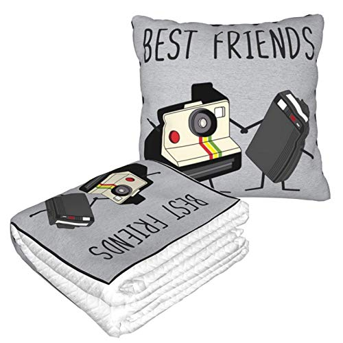 Qushy Best Friends Fun Vintage Camera and Retro Beeper Travel Blanket and Pillow 2 in 1 is Easy to Carry, Very Suitable for Living Room/Car/Travel/Camping/Airplane/Office
