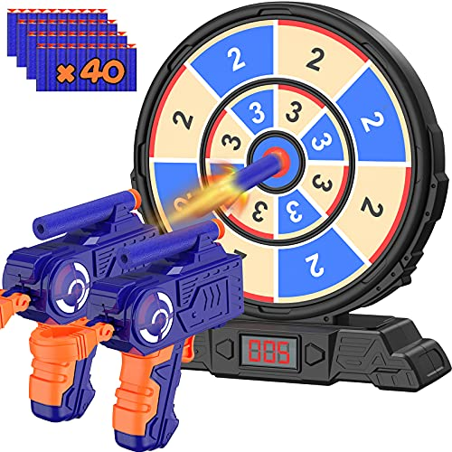 Digital Shooting Target with Foam Dart Toy Guns  Kiticute Shooting Game Toys with Sound Effects  Electric Scoring Nerf Target for Age of 6 7 8 9 10 11+ Years Old Kids  Boys  Girls  for Nerf Guns Toys