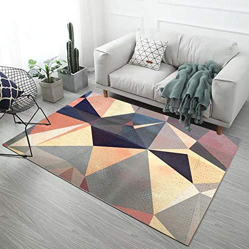 HXJHWB Tappeto Salotto Design Decorazione - Squisito Tappeto da Balcone Multicolore Geometrica Irregolare Stampa 3D Antiscivolo Facile da pulire-120 cm x 160 cm